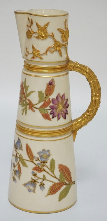ANTIQUE ROYAL WORCESTER HAND PAINTED PORCELAIN PITCHER FLOWERS ALONG WITH GOLD GILT RINGS AND HANDLE. 9 INCHES HIGH.