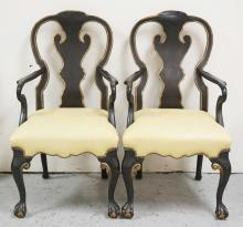 PAIR OF MINTON-SPIDELL ARMCHAIRS IN BLACK WITH GOLD TRIM. CARVED BALL & CLAW FEET. 41 1/2 INCHES HIGH. 23 INCHES WIDE.