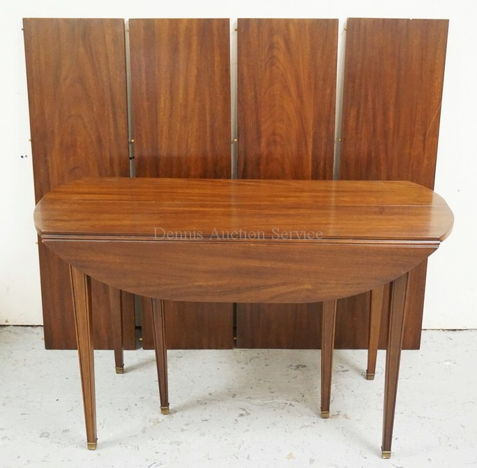 HENKEL HARRIS VIRGINIA GALLERIES MAHOGANY DROPLEAF TABLE WITH 4 LEAVES. 48 X 19 INCH TOP PLUS FOUR 13 1/2 INCH LEAVES ALONG WITH 7 INCH DROP LEAVES.