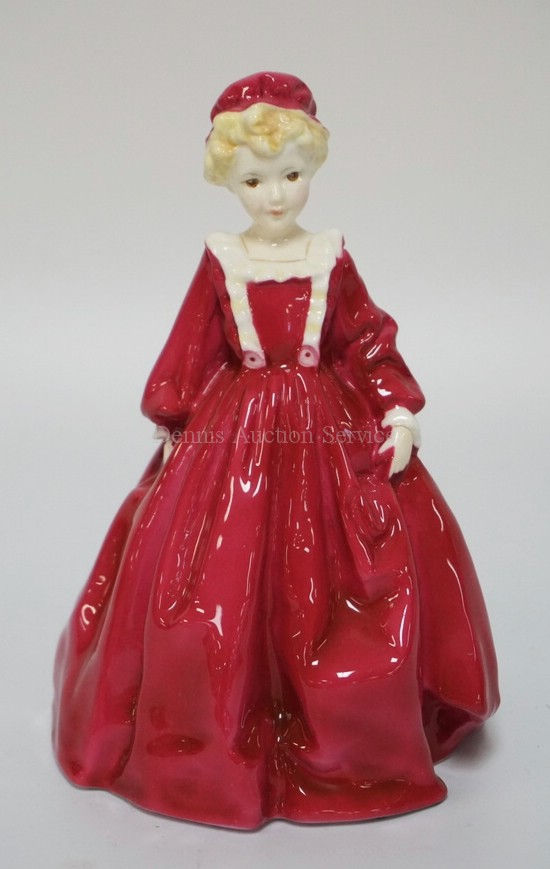 ROYAL WORCESTER #3081 *GRANDMOTHER'S DRESS* PORCELAIN FIGURE MODELLED BY F.G. DOUGHTY. 6 1/2 INCHES HIGH.