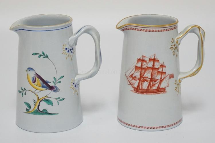 LOT OF 2 SPODE PORCELAIN PITCHERS. ONE IN THE *QUEENS BIRD* PATTERN, THE OTHER IN THE *TRADE WINDS* PATTERN DEPICTING THE SHIP *ERIS OF SALEM* BUILT IN 1810. TALLEST IS 5 1/2 INCHES.