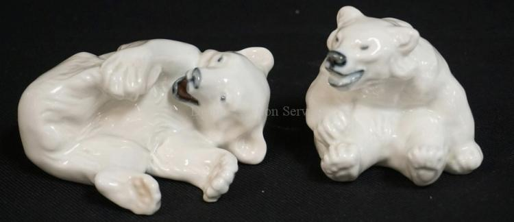 2 ROYAL COPENHAGEN PORCELAIN PLAYFUL POLAR BEAR FIGURES. TALLEST IS 2 3/4 INCHES.