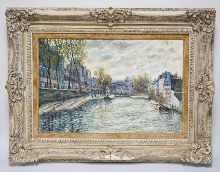 OIL PAINTING ON CANVAS OF A EUROPEAN CITY WITH BOATS IN A CANAL LINED BY TREES AND BUILDINGS. SIGNED LOWER RIGHT. 19 1/4 X 29 1/4 INCHES. FRAME HAS SOME LOSSES.