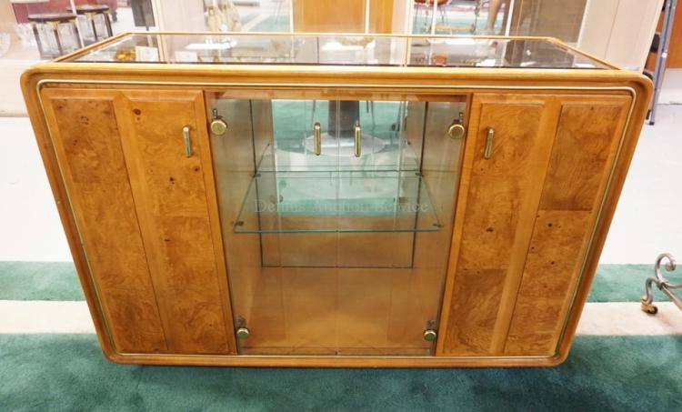 MODERN SERVER WITH 2 GLASS DOORS, 2 BURLED PANEL DOORS, AND A SMOKED MIRROR TOP. LIGHTED INTERIOR. 32 INCHES HIGH. 48 INCHES WIDE.