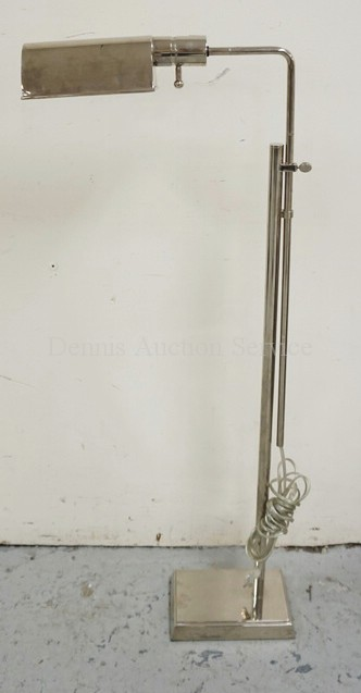 MODERN FLOOR LAMP WITH A NICKEL PLATED FINISH. ADJUSTABLE HEIGHT.