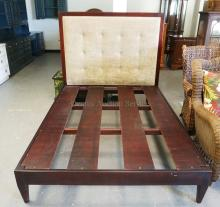 MARTIN FURNITURE QUEEN SIZE BED WITH AN UPHOLSTERED HEADBOARD.