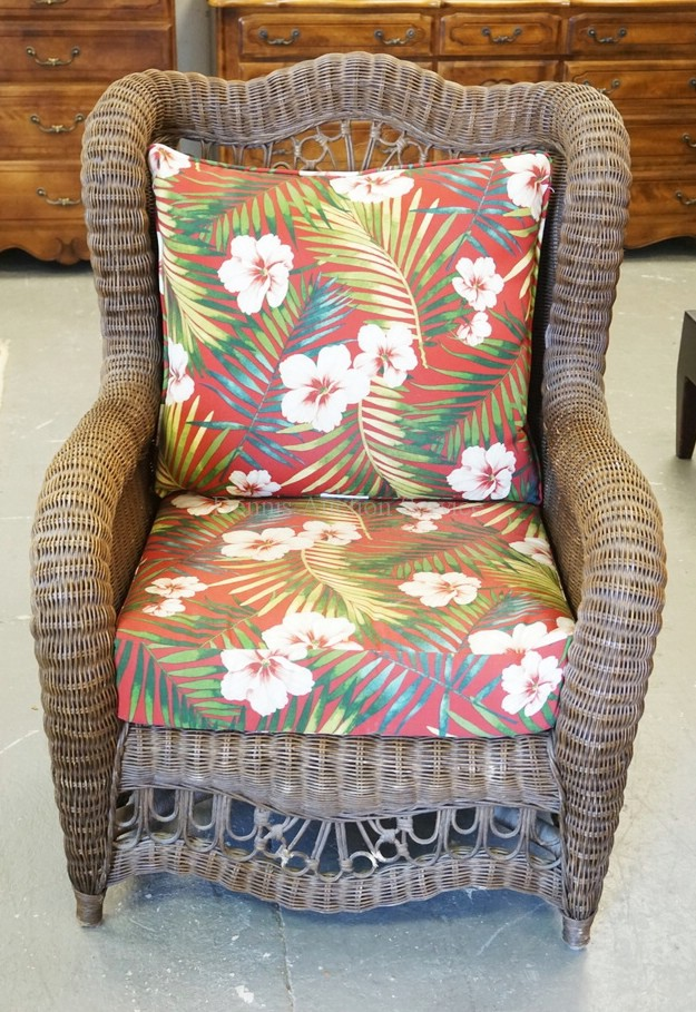 ETHAN ALLEN WICKER ARMCHAIR WITH FLORAL CUSHIONS. 41 INCHES