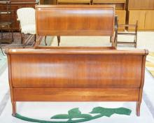 ETHAN ALLEN SLEIGH BED. FULL SIZE. 43 INCHES HIGH.
