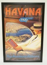 PAN AMERICAN AIRWAYS, HAVANA CUBA TRAVEL POSTER. 37 1/4 X 24 1/4 INCHES.