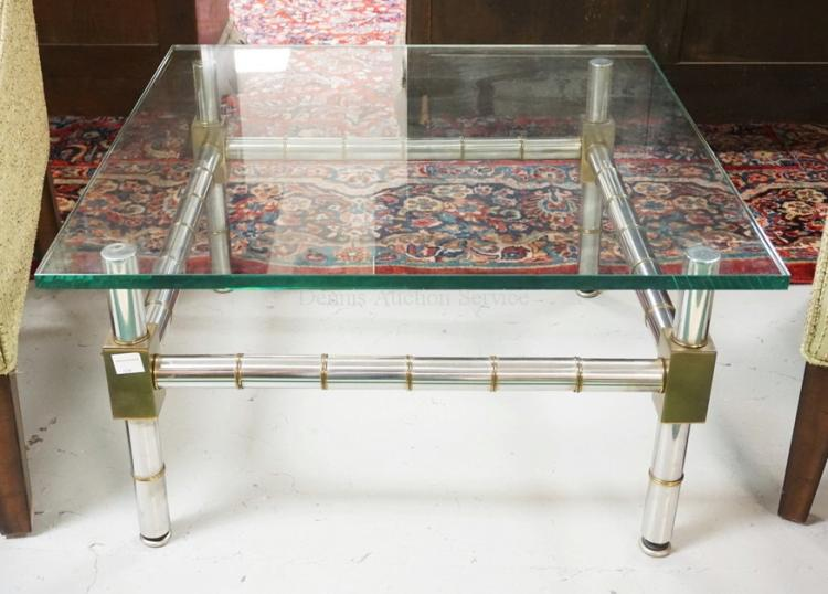 Chrome and brass bamboo styled coffee table with a glass top for Coffee tables 16 inches high