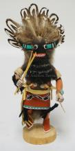 NATIVE AMERICAN INDIAN KACHINA DOLL. 11 1/2 INCHES HIGH. TITLED *ANGRY KACHINA*