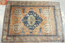 FINE ANTIQUE SILK PERSIAN THROW. 4 FT 2 IN X 5 FT 9 IN. NOTE: EXCELLENT CONDITION AND INTERESTING BORDER.