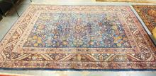 ANTIQUE PERSIAN BLUE ROOM SIZE RUG. EXCELLENT CONDITION W/ 15 SEPARATE BORDERS AND GREAT DESIGN. 8 FT 5 IN X 12 FT
