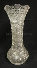 EXCEPTIONAL TALL DEEP BRILLIANT CUT GLASS VASE W/ BULBOUS BASE AND FLARED RIM. 16 1/8 IN H