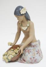 LLADRO FIGURE- HAWAIIAN FLOWER VENDOR. BISQUE AND GLAZED FINISH. 10 1/2 IN H. W/ ORIGINAL BOX