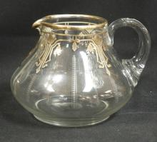 BLOWN AND CUT SILVER OVERLAY PITCHER W/ APPLIED HANDLE AND POLISHED PONTIL. 5 3/4 IN H