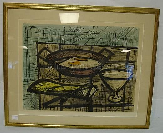 Strange Framed Bernard Buffet Print 1955 Fried Eggs In A Pan 24 Home Interior And Landscaping Ologienasavecom