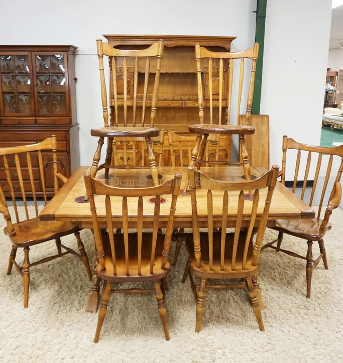 Dining Table And Hutch Set: 10 PIECE CUSHMAN DINING ROOM SET. TABLE, 8 CHAIRS, AND A 2 P