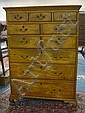 ANTIQUE TIGER MAPLE 10 DRW HIGH CHEST ON BRACKET FEET