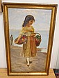 LARGE FRAMED O/C; SIGNED N. ALCOLL (?); YOUNG GIRL