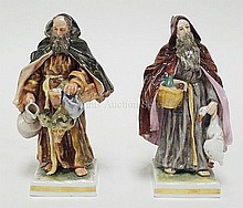 PAIR OF 19TH C. CAPO DI MONTE PORCELAIN FIGURES OF