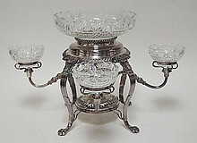 19TH C. ENGLISH SILVER PLATED EPERGNE W/ORNATE