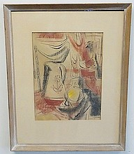 MODERNIST PAINTING, SIGNED LEVIN; WATERCOLOR AND