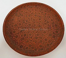JAPANESE LACQUER PLATE WITH SCATTERED PRUNUS