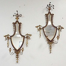 PR OF ADAMS ANTIQUE REVERSE BANDED URN FORM MIRROR