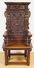 HEAVILY CARVED HIGH BACK HALL CHAIR W/FULLY CARVED