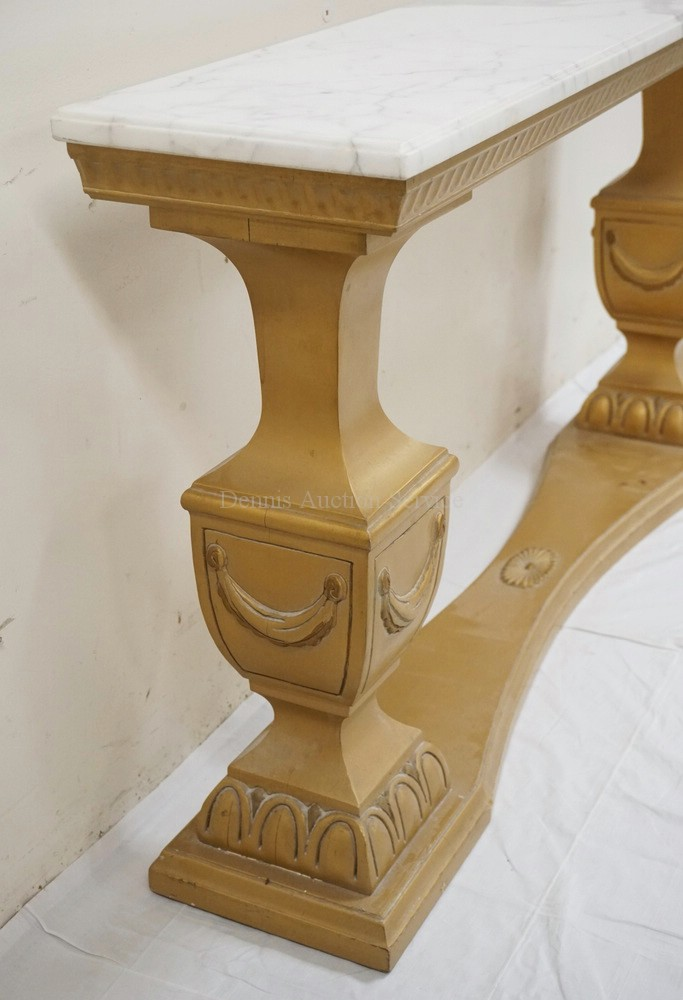 Marble top console table with a carved and painted base 48 for 10 inch high table