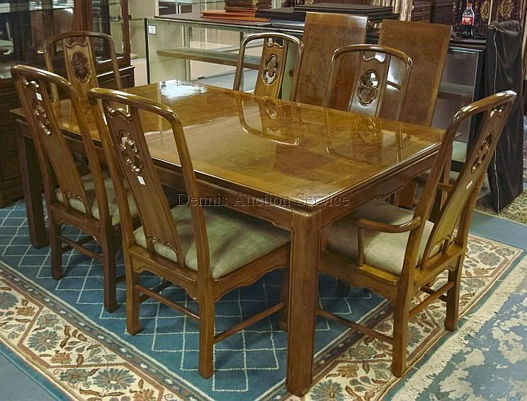 THOMASVILLE CHINESE CHIPPENDALE 7 PC DINING SET; TABLE W/TWO 18 IN SKIRTED LEAVES (72 IN X 45 IN CLOSED, 29 1/2 IN H) & 6 CHAIRS (2 ARM & 4 SIDE)