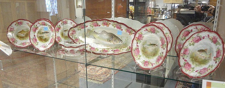 O & E. G. ROYAL AUSTRIA 11 PC FISH SET; 21 3/4 IN