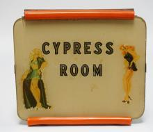 VINTAGE CYPRESS ROOM GENTLEMAN'S CLUB LIGHTED SIGN. 11 X 10 1/8 INCHES.