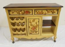 DOUBLE SIDED BAR WITH PAINTED FLORAL DECORATIONS. 48 X 18 INCH TOP. 37 INCHES HIGH.