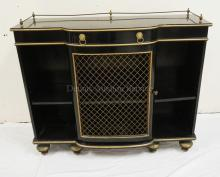 EBONIZED CREDENZA WITH A WIRE SCREEN DOOR, A BRASS GALLERY, AND BRASS LION PULLS. 35 INCHES HIGH. 40 1/2 INCHES WIDE.