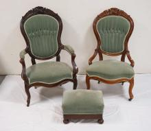 3 PCS CARVED VICTORIAN FURNITURE. 2 PARLOR CHAIRS AND A FOOTSTOOL.