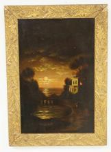 OIL ON BOARD OF A MOONLIT WATERWAY WITH A HOUSE AND TREES ON THE SHORELINE. 11 1/2 X 17 3/4 INCH SIGHT SIZE. THISTLE CARVED AND GOLD GILT FRAME.