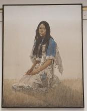 JOHN PACE NATIVE AMERICAN INDIAN PAINTING OF A WOMAN KNEELING IN A FIELD. 22 X 28 INCHES. SIGNED. SOME WATER STAINING LEFT SIDE.
