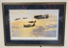 ROBERT TAYLOR LIMITED EDITION WWII PRINT TITLED *IN GALLANT COMPANY*. #439/1250. SIGNED BY THE PILOTS. 40 X 29 INCH FRAME.