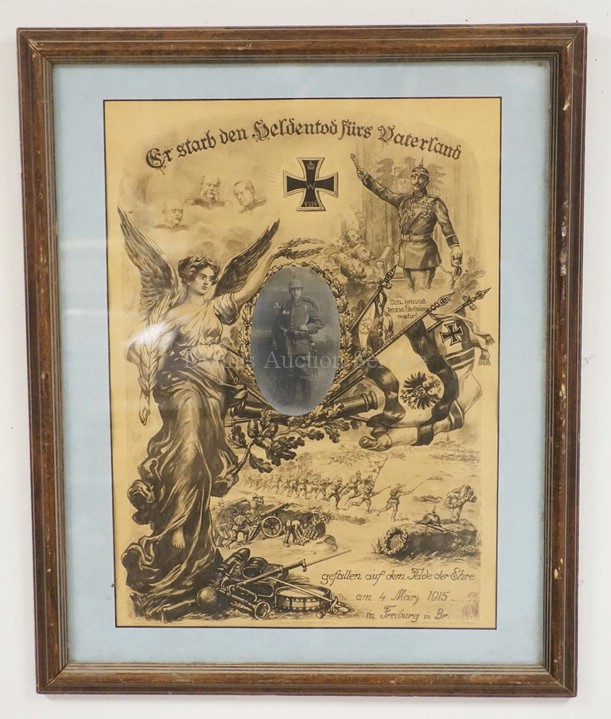 German Wwi Framed Memorial Print For A Fallen Soldier In 1915
