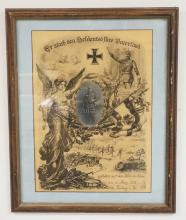 GERMAN WWI FRAMED MEMORIAL PRINT FOR A FALLEN SOLDIER IN 1915. CENTER HAS A PHOTO IMAGE OF THE YOUNG SOLDIER SURROUNDED BY BATTLEFIELD IMAGES AND AN ANGEL. 18 X 22 INCH FRAME.