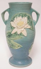 LARGE ROSEVILLE WATER LILY VASE. 18 3/8 IN H.