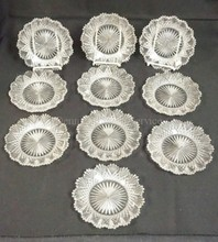 SET OF TEN 6 3/4 IN DEEP BRILLIANT CUT GLASS PLATES. SOME RIM CHIPS.