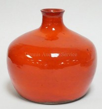 BRIGHT RED ART POTTERY VASE W/INCISED SIGNATURE DONYA, NO 2031. 7 IN H.