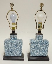 PAIR OF BLUE AND WHITE HAND PAINTED LAMPS W/BIRDS AND BRANCHES. 20 IN. TOTAL HEIGHT.