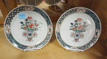 PAIR OF 19TH C. CHINESE PLATES W/ FAMILLE VERTE ENAMEL. 9 1/2 IN