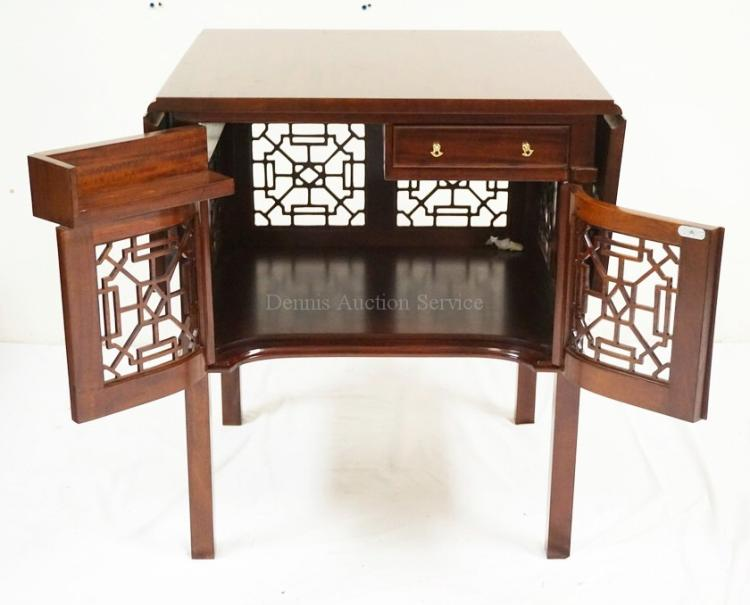 Bench Made Mahogany Drop Leaf Lamp Tables With Fretwork Doors 28