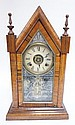 STEEPLE CLOCK W/PAINT DECORATED DOOR; 19 3/4 IN H