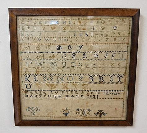 FRAMED SAMPLER; *MARIA AUSTIN, AGED 12 YEARS,